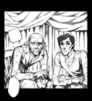 俳優の故・岸田森さんと故・天本英世さんに敬意を込めて描いた絵