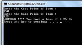 If cost price and selling price of an item is input through the keyboard, write a program to determine whether the seller has made profit or incurred loss. Also determine how much profit he made or loss he incurred.