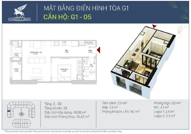 Thiết kế loại căn hộ 01 phòng ngủ