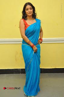 Telugu Actress Vaibhavi Stills in Blue Saree at Www.Meena Bazaar Movie Opening  0106.JPG