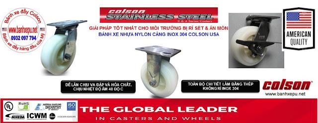 Bánh xe đẩy inox 304 Colson bánh xe đẩy hàng đầu của Mỹ