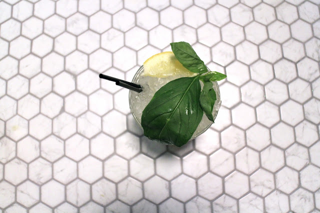Gin Basil Smash - pretty tile interior and Spring cocktail