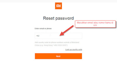 Reset Password Mi Account Karena Lupa Passwod