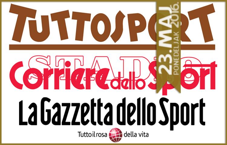 Italijanska štampa: 23. maj 2016. godine