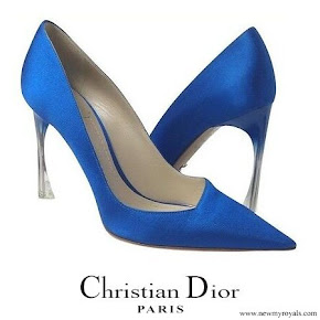 Queen Rania wore Christian Dior Songe Perspex Heel Blue Pumps
