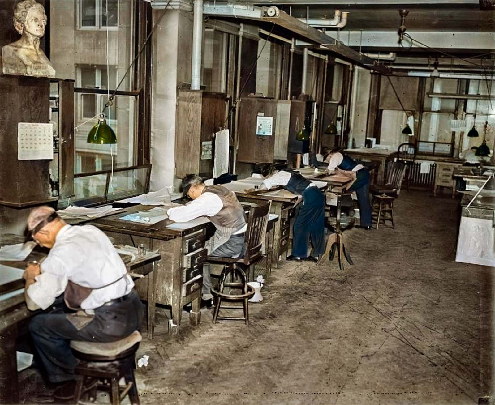 Here draftsmen are correcting geological survey printing plates, at The Department of Interior Geological Survey Section, Washington DC. 1939.