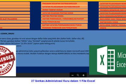 27 Berkas Administrasi Guru dalam 1 File Excel (Cepat, Tepat dan Efektif)