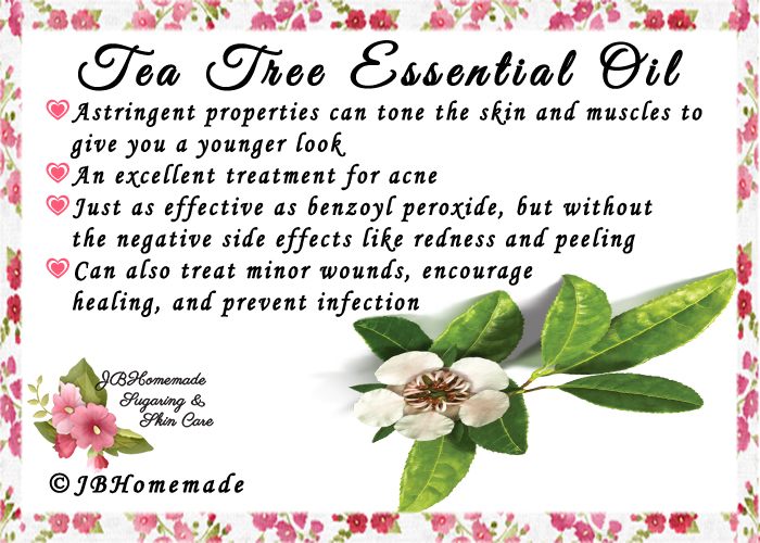 Tea Tree ♦Astringent properties can tone the skin and muscles to give you a younger look ♦An excellent treatment for acne ♦Just as effective as benzoyl peroxide, but without the negative side effects like redness and peeling ♦Can also treat minor wounds, encourage healing, and prevent infection