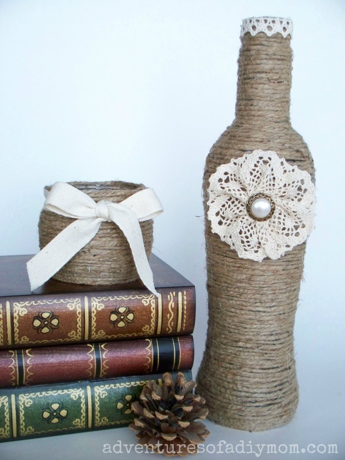 Twine Wrapped jar with Ribbon