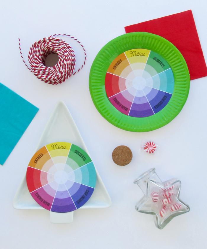 Color wheel, table setting, table set, partyplanner, rueda de color, navidad. christmas, colorful christmas, poinsetias, flor de pascua, freebie, imprimible gratis, colorful, color pop, unique christmas