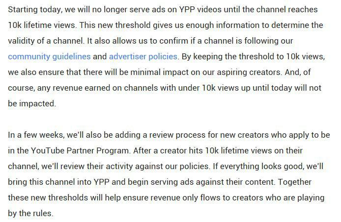 Aturan Youtube Baru, Iklan Hanya Akan Muncul Jika Sudah Memiliki 10.000Viewers