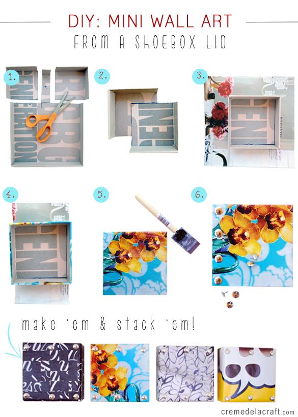 Diy Mini Wall Art From Shoebox Lids