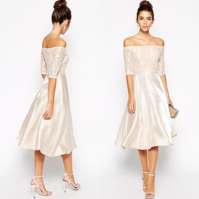 Elegant midi bridesmaid dress off shoulder satin wedding for Off the shoulder satin wedding dress
