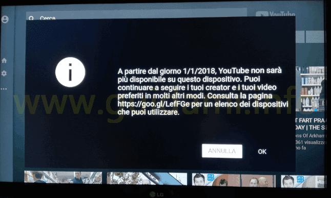 Amazon Fire TV Stick notifica YouTube non sarà più disponibile