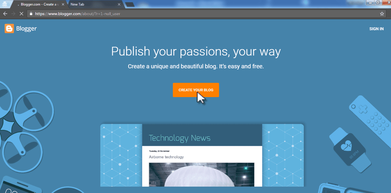 Click on create your blog button