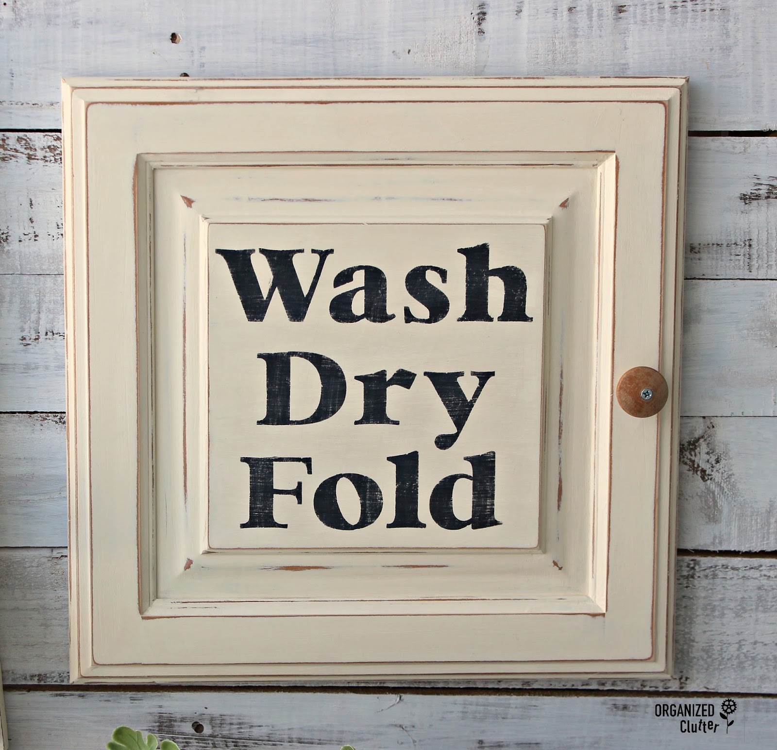 Re Purposed Cabinet Door Laundry Room Sign Organized Clutter