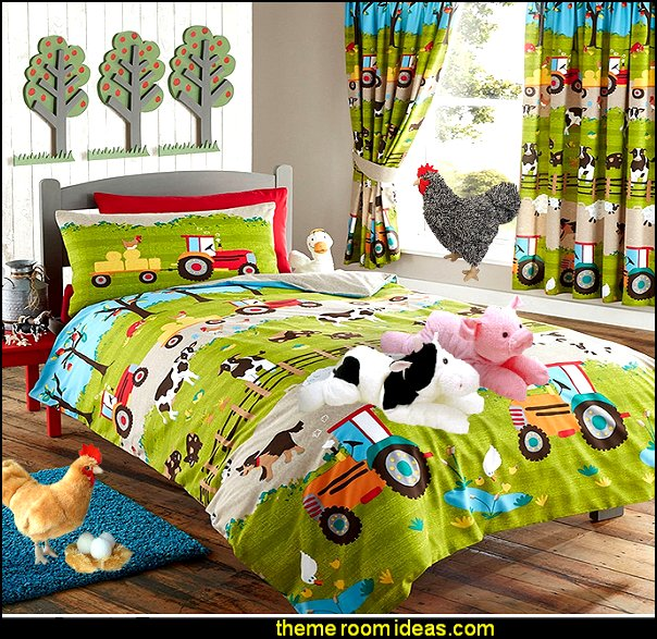 FARM YARD ANIMAL PIG DOG COW SHEEP TRACTOR DUVET QUILT COVER BEDDING