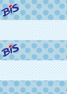 Etiquetas de Celeste y Puntos para imprimir gratis.