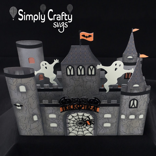 Haunted Halloween Castle by Janet Packer (Crafting Quine). Tutorial using Simply Crafty SVGs Dragon Castle Card. http://craftingquine.blogspot.co.uk