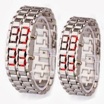 tokyo flash iron samurai led watch jam tangan bentuk rantai kw super