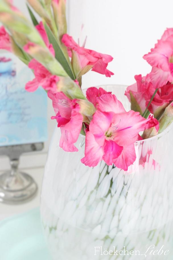 Flckchenliebe Pink sind meine Blumen Gladiolen in der Vase