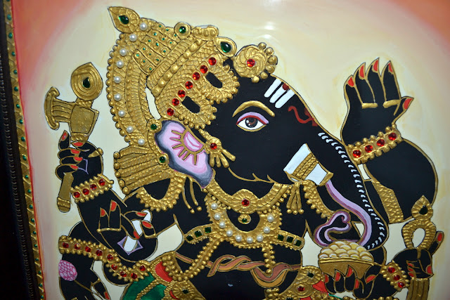 Embossed ganesh painting with acrylic paint