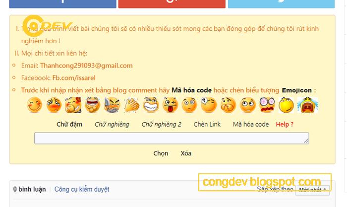 Cập nhật hệ thống biểu tượng cảm xúc cho khung nhận xét blogger