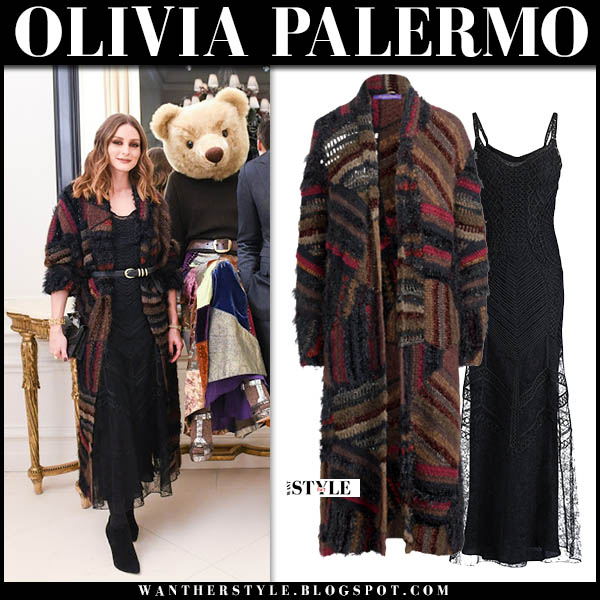 Olivia Palermo in brown multi patchwork crochet coat and black lace long dress ralph lauren winter outfit december 2018