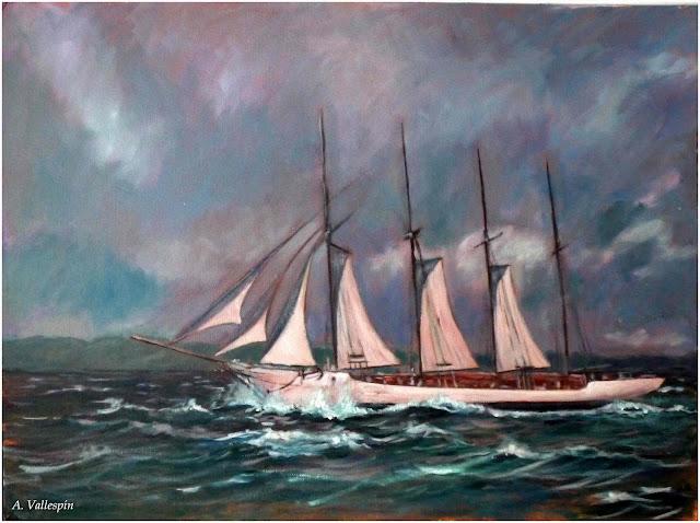 Marina al óleo velero de tres palos