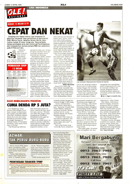 LIGA INDONESIA IV 1998 BABAK 12 BESAR
