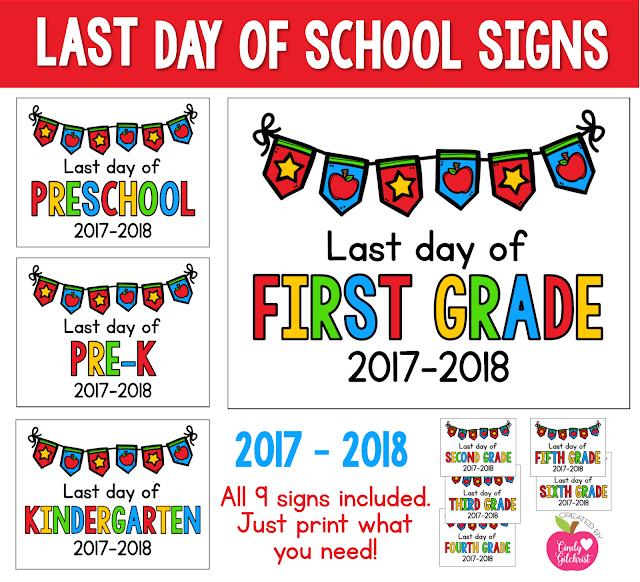 https://www.teacherspayteachers.com/Product/LAST-Day-of-School-Signs-2017-2018-FREEBIE-Preschool-PreK-Kinder-1st-2nd-3132305