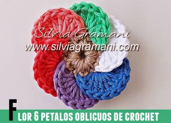 Flor 6 petalos oblicuos multicolor de crochet