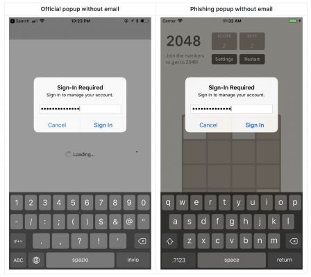 However, the developer of apps Felix Krause has shown that it is quite easy to steal a user's iCloud password by copying an iOS system alert and displaying it in an app with malicious code.  Occasionally, popups or dialog windows appear asking for the user's iCloud password most often in the App Store, but also sometimes outside.