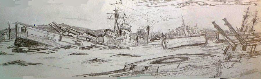 Boceto de pintura hyndimiento Scapa Flow 1
