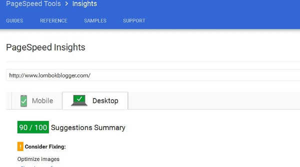 page speed insight lombok blogger