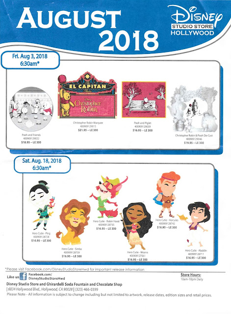 Disney Studio Store Hollywood August 2018 Pin Release Schedule