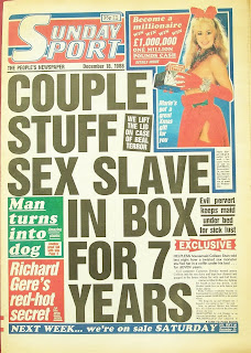 Sunday Sport tabloid newspaper front page 18th December 1988