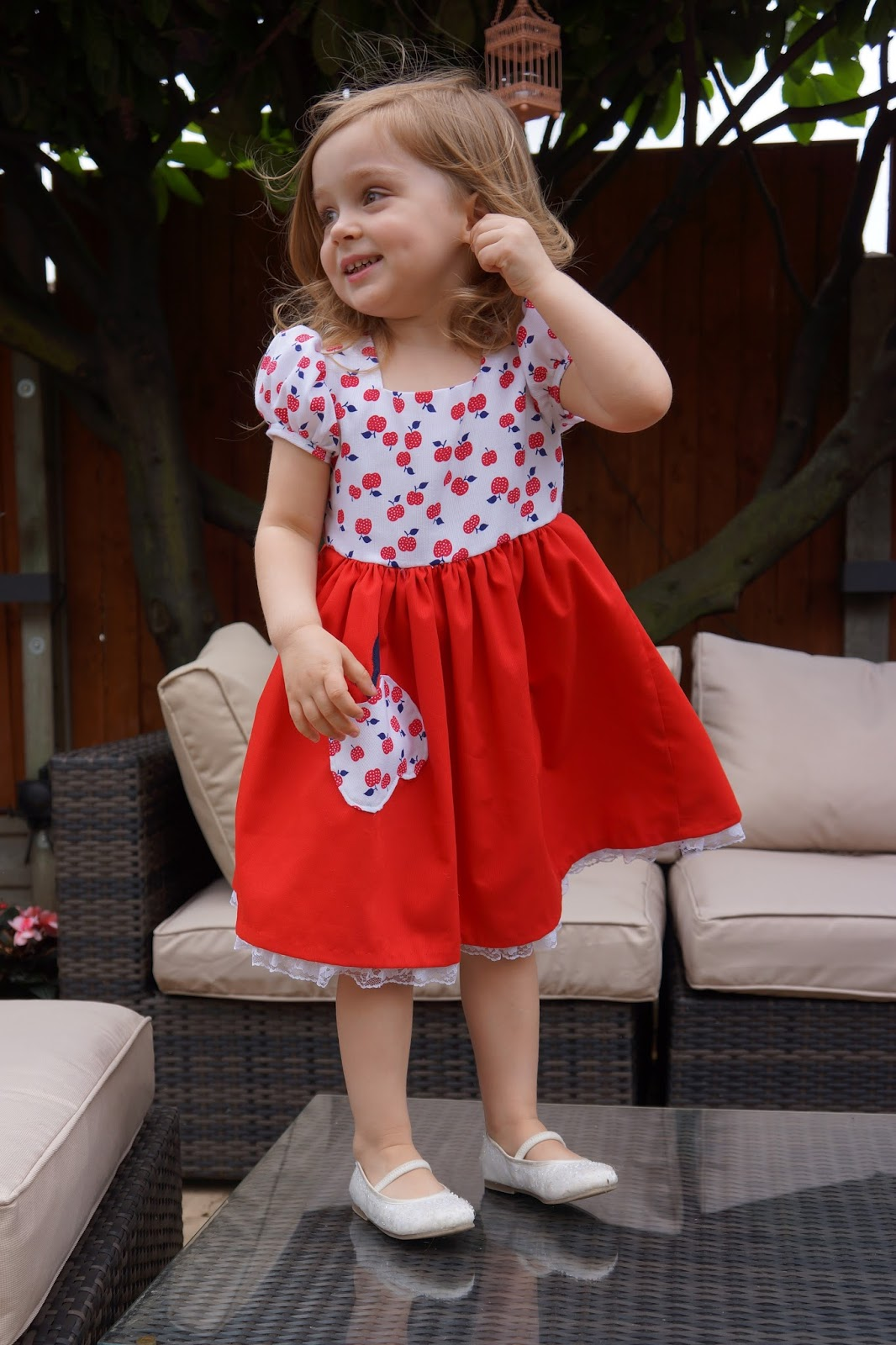 homemade red and white apple dress