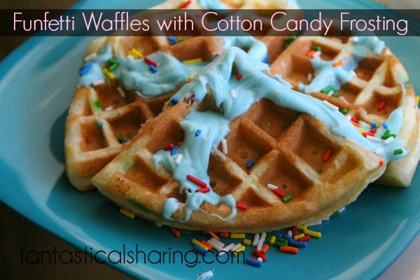 Funfetti Waffles with Cotton Candy Frosting | Breakfast will never be the same!