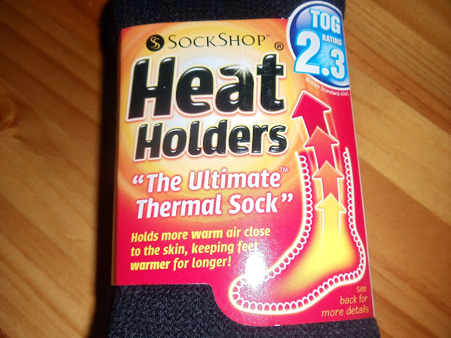 A close up of a pair of heat holders socks