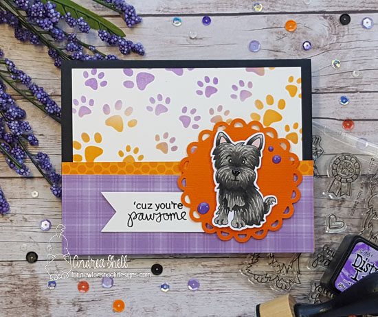 Cuz you're pawsome by Andrea features Newton's Nook Designs Pawprints stencil & Terrific Terriers; #newtonsnook