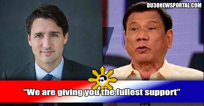 Canada Prime Minister  To Duterte and Filipinos 'We are giving you the fullest support, Count on us anytime and we would be at your door step.""