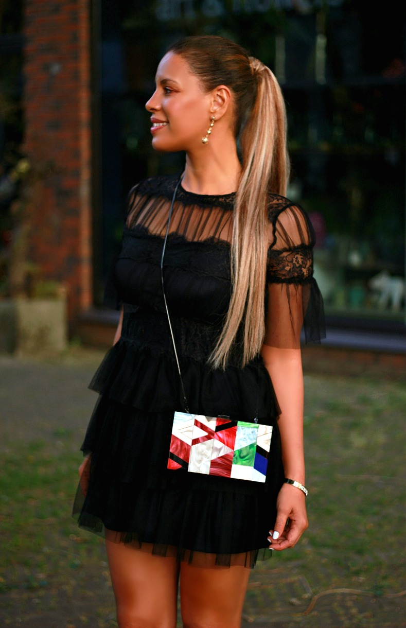 Tamara Chloé, Black mesh zara dress, Zara Box bag, Luxury For princess ponytail hazel blonde