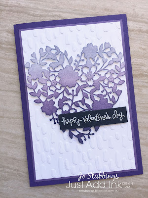 Jo's Stamping Spot - Just Add Ink #397 using Bloomin' Love Stamp Set and Bloomin' Heart thinlits by Stampin' Up!