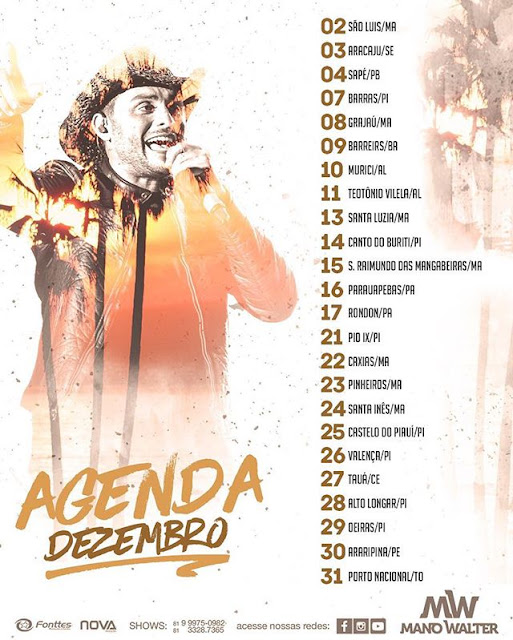 Agenda De shows cantor Mano Walter 2017