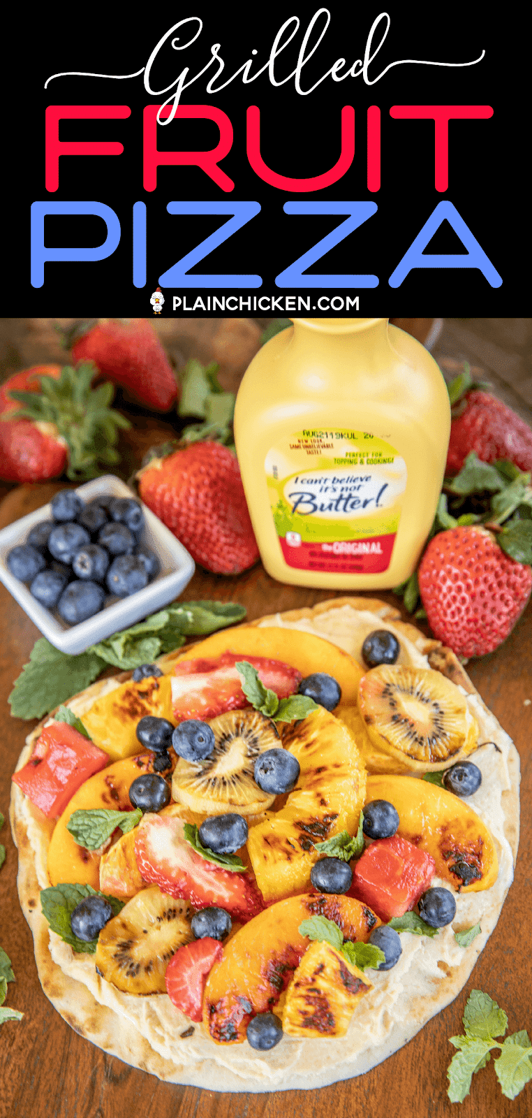 grilled fruit pizza on a cutting board