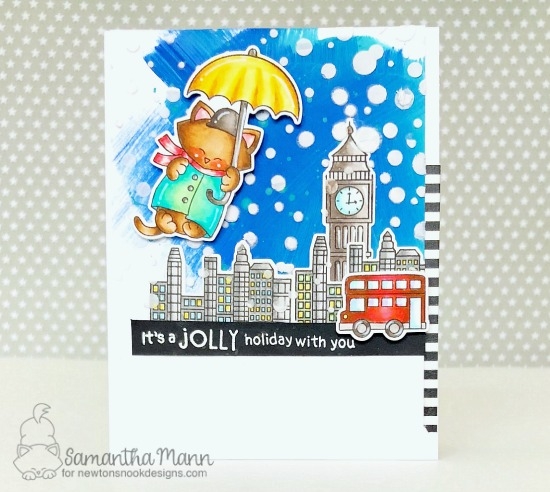 A Jolly Holiday Card by Samantha Mann | Newton Dreams of London, Sentiments of the Season and Snow Globe Scenes Stamp Sets by Newton's Nook Designs #newtonsnook #handmade