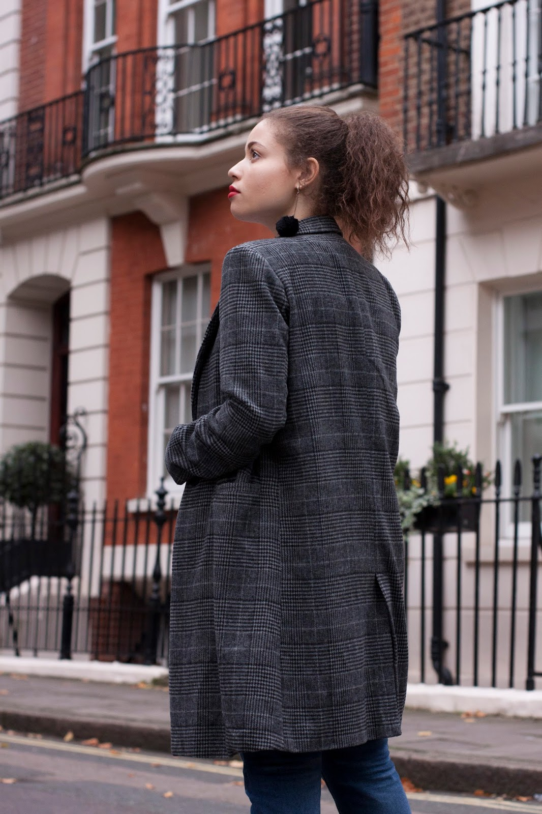 grey check coat pretty little thing