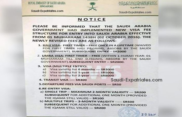 NEWLY REVISED VISA FEE IN SAUDI ARABIA