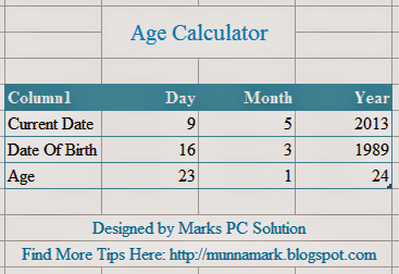 Microsoft Excel Age Calculator